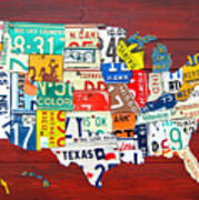 License Plate Map Of The United States - Midsize Art Print