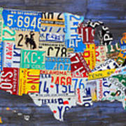 License Plate Map Of The Usa On Blue Wood Boards Art Print