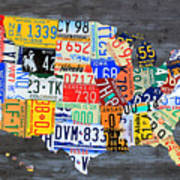 License Plate Map Of The Usa On Gray Distressed Wood Boards Art Print