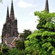 Lichfield Cathedral From Minster Pool Art Print