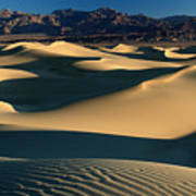 Light And Shadows In The Mesquite Sand Dunes Of Death Valley Art Print