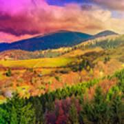 Light  Beam Falls On Hillside With Autumn Forest In Mountain Art Print