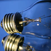 Light Bulb - Blue Art Print