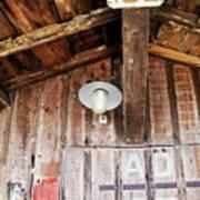 Light Hanging Inside An Old Wooden Hut Art Print