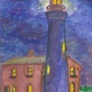 Light House At Night Art Print