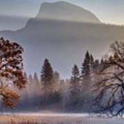 Light Rays In Yosemite Ground Fog Art Print