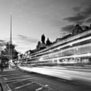 Light Trails On O'connell Street At Night - Dublin Art Print