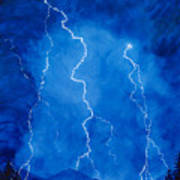 Lightening Storm In The Mountains Art Print