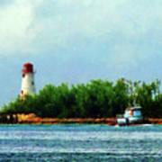 Lighthouse And Boat Nassau Bahamas Art Print