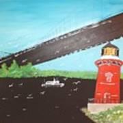Lighthouse And Bridge Art Print