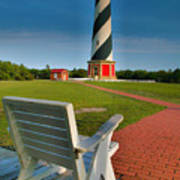 Lighthouse And Chair Art Print