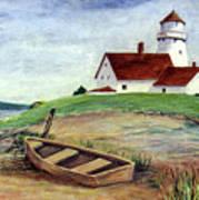 Lighthouse And Dinghy Art Print