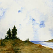 Lighthouse And Pine Trees Art Print
