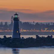 Lighthouse And Wharf At Dusk Art Print