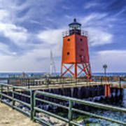 Lighthouse At Charlevoix South Pier  Art Print