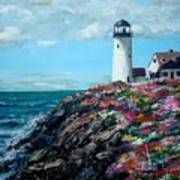 Lighthouse At Flower Point Art Print