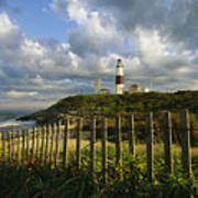 Lighthouse At Montauk With Dramatic Sky Art Print