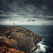 Lighthouse Cliff Art Print