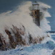 Lighthouse In A Storm Art Print by David Hawkes