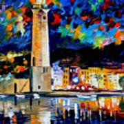 Lighthouse In Crete - Palette Knife Oil Painting On Canvas By Leonid Afremov Art Print