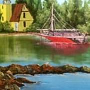 Lighthouse In Maine Art Print