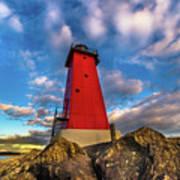 Lighthouse Manistique Sunset -5350 Art Print