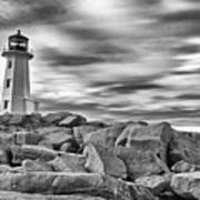 Lighthouse Peggys Cove - Black And White Art Print