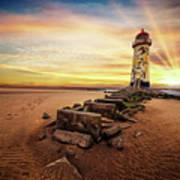 Lighthouse Sunset Wales Art Print