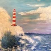 Lighthouse Under Lavender Sky Art Print