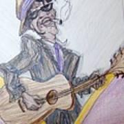 Lightnin Hopkins Blues Sketch Art Print