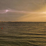 Lightning And Rainbow, Fort Myers Beach, Fl Art Print