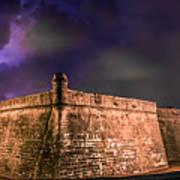 Lightning Over Castillo De San Marcos National Monument Art Print