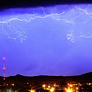 Lightning Over Loveland Colorado Foothills Panorama Art Print