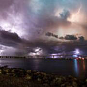 Lightning Over The Sanibel Bridge Art Print