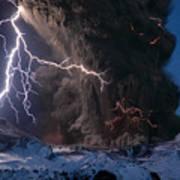 Lightning Pierces The Erupting Art Print by Sigurdur H Stefnisson