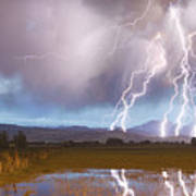 Lightning Striking Longs Peak Foothills 4 Art Print