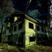 Lightnings On Abandoned Hotel On Liguria Mountains High Way - Fulmini Su Hotel Abbandonato Sull'av Art Print