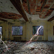 Lightnings On The Abandoned Hotel Of Liguria Mountains - Fulmini Su Hotel Abbandonato Sull'av Art Print