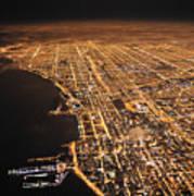 Lights Of Chicago Burn Brightly Art Print