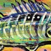 Lil' Funky Folk Fish Number Ten Art Print by Robert Wolverton Jr