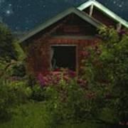 Lilac Cottage By Moonlight Art Print