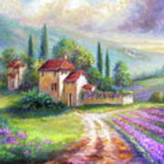 Lilac Fields In The Italian Countryside   Art Print