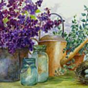 Lilacs And Ball Jars Art Print