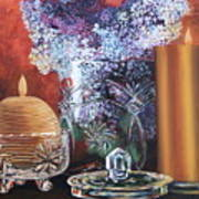 Lilacs And Candles Art Print