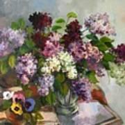 Lilacs And Pansies Art Print