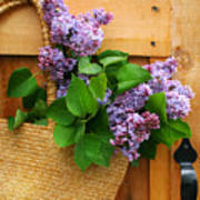 Lilacs In A Straw Purse Art Print