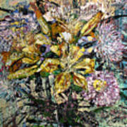 Lilies And Chrysanthemums.1999 Art Print