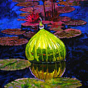 Lilies And Glass Reflections Art Print