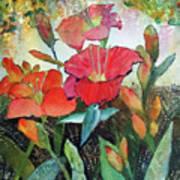 Lilies And Hummingbird Art Print