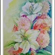Lilies And Mums Art Print